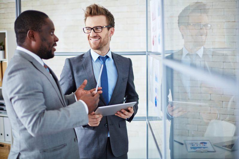 two businessmen having a conversation
