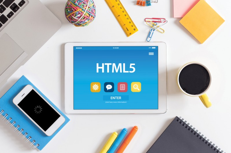 HTML5 tablet on desk