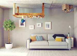 A living room that is partially upside down