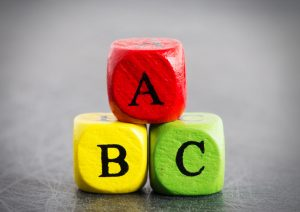 3 multicoloured die with the letters A, B, and C written on them