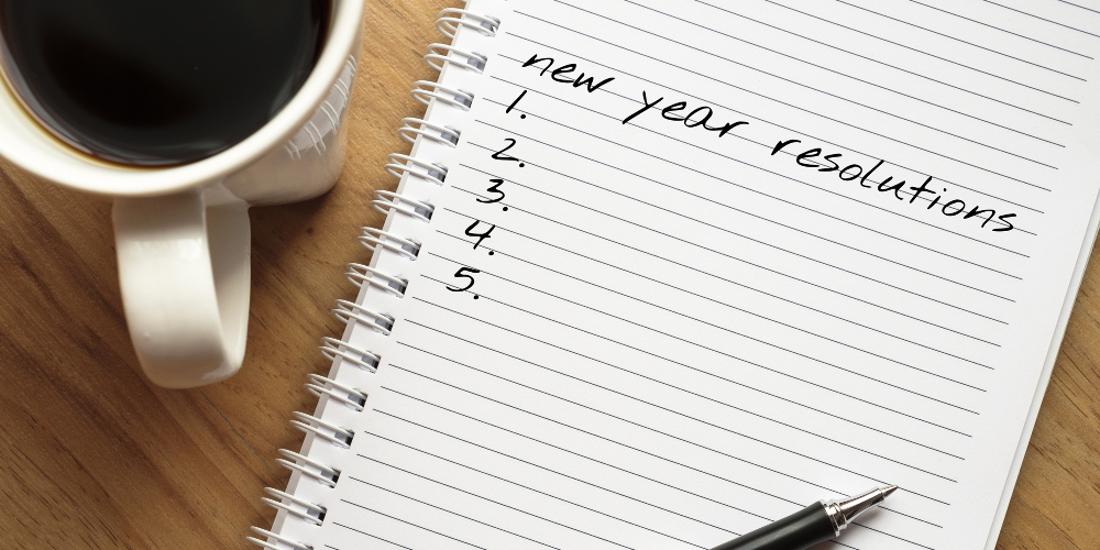 Notepad with new years resolutions
