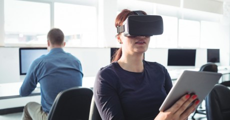 Woman learning using VR