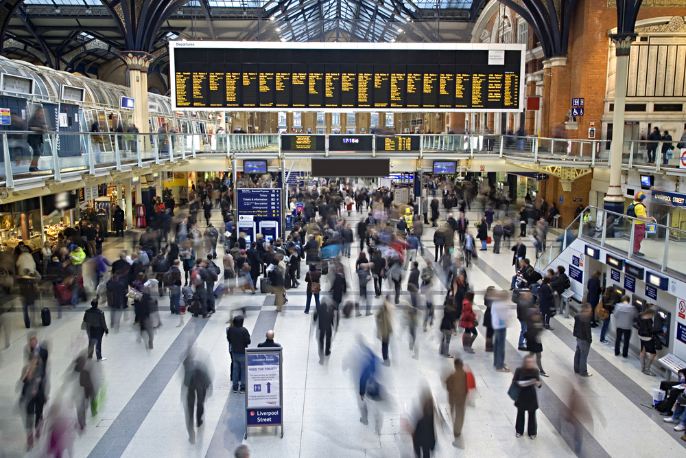 Busy Train station in Liverpool street