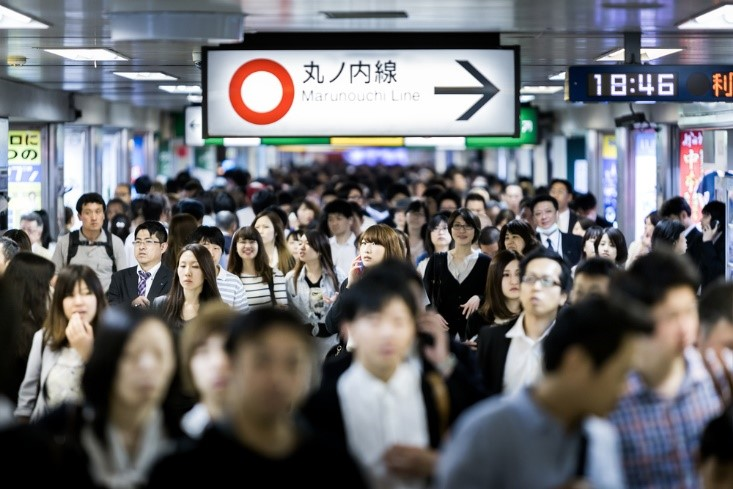 Busy train station in Japan