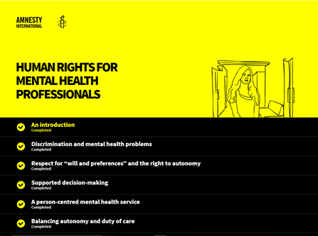 Screenshot from Amnesty International Mental Health course showing table of contents