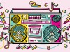 brightly coloured radio representing pop culture in learning