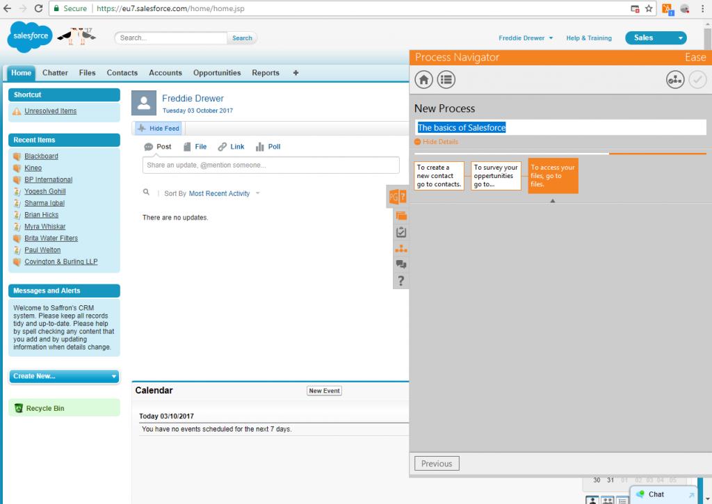 Screenshot of Saffron eaSe performance support tool
