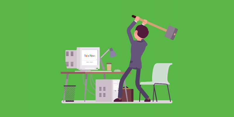 Person getting rid of Google with a hammer