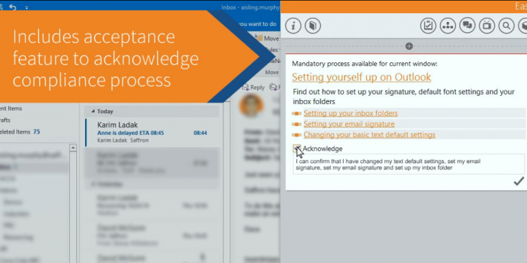 Includes acceptance feature to acknowledge compliance process