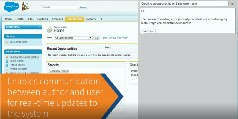 Enables communication between author and user for real-time updates to the system
