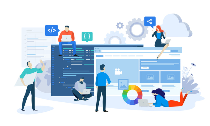 Vector image of people and webpage design