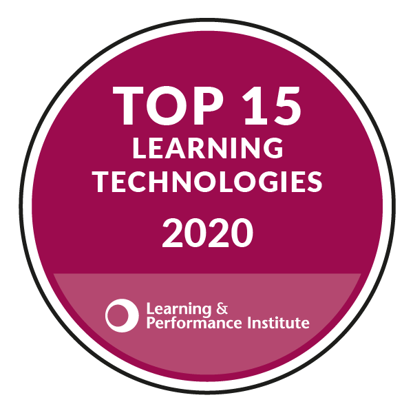 Top 15 Learning Technologies Badge 2020 from the Learning and Performance Institute