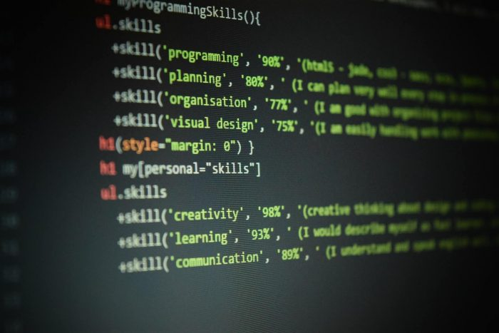 code on a computer screen detailing skills
