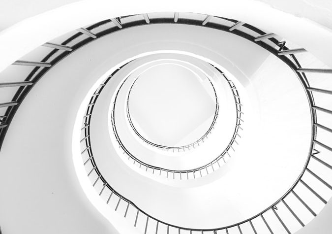 spiral staircase from frog view