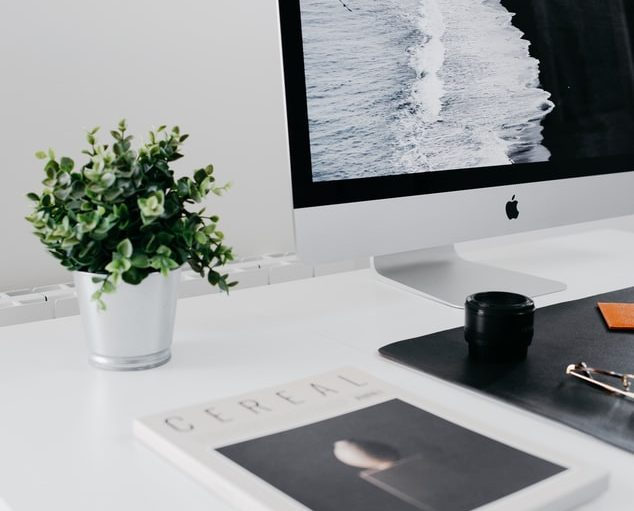 workplace desk with magazine, plant and desktop