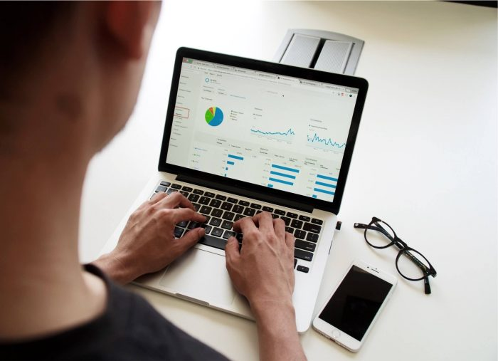 Laptop screen with data and and analytics